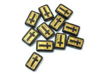 Cross Beads Jet - Gold Inlay 17x11 mm - 2 sztuki