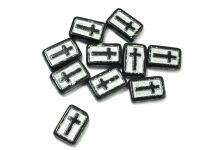 Cross Beads Jet - Silver Inlay 17x11 mm - 2 sztuki