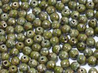 Round Beads Opaque Olive - Picasso Silver 4 mm - opakowanie