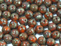 Round Beads Opaque Orange - Picasso Silver 6 mm - 20 sztuk