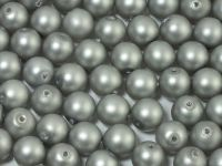 Round Beads Silver Satin Pearl 6 mm - 20 sztuk