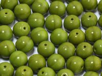 Round Beads Opaque Olive 8 mm - 10 sztuk
