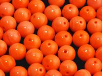 Round Beads Opaque Red Orange 8 mm - 10 sztuk
