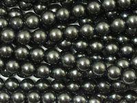 Perełki szklane hematytowe 6 mm - sznur