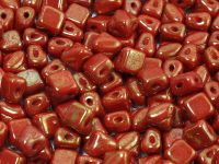 Silky Beads 5mm Gold Marbled Opaque Red - 20 sztuk