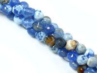Agat ognisty niebieski kula fasetowana 4 mm - sznur 39 cm