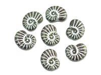 Ammonite Beads Green-Brown - Silver Inlay 17x13 mm - 2 sztuki