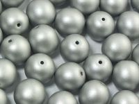 Round Beads Satin Metallic Silver 10 mm - 6 sztuk
