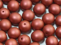 Round Beads Satin Metallic Red 10 mm - 6 sztuk