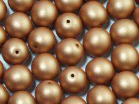 Round Beads Satin Metallic Copper 10 mm - 6 sztuk