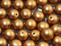 Round Beads Satin Metallic Brass 10 mm - 6 sztuk