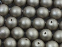 Round Beads Satin Metallic Grey 10 mm - 6 sztuk