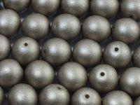 Round Beads Satin Metallic Grey 10 mm - 6 sztuk