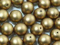 Round Beads Satin Metallic Olive Gold 10 mm - 6 sztuk