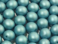 Round Beads Satin Metallic Blue Turquoise 10 mm - 6 sztuk
