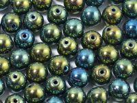Round Beads Iris Green 6 mm - 20 sztuk