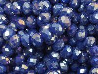 Szklane oponki fasetowane kobaltowe tęczowe 6x4 mm - sznur