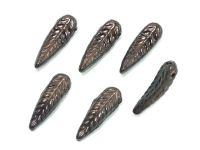 Bird Feathers Luster - Metallic Bronze Violet 17x5mm - 4 sztuki