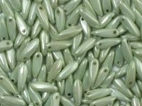 Dagger Beads Luster - Metallic Lt Green 10x3mm - 20 sztuk