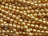 Perełki szklane porowate miodowe 4 mm - sznur