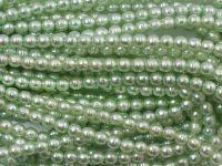 Perełki szklane porowate pistacjowe 4 mm - sznur