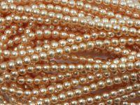 Perełki szklane porowate jasnołososiowe 4 mm - sznur