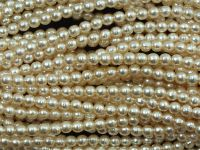 Perełki szklane porowate śmietankowe 4 mm - sznur