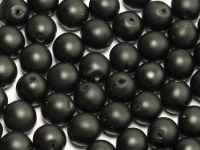 Round Beads Black Satin Pearl 6 mm - 20 sztuk