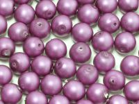 Round Beads Red Lilac Satin Pearl 6 mm - 20 sztuk