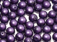 Round Beads Deep Violet Satin Pearl 6 mm - 20 sztuk