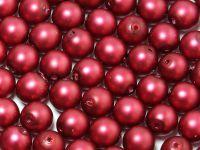Round Beads Dark Red Satin Pearl 6 mm - 20 sztuk