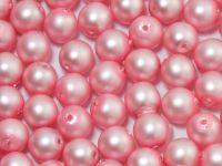 Round Beads Pink Satin Pearl 6 mm - 20 sztuk