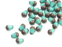 Cut Drop Opaque Turquoise - Dark Bronze 8x6 mm - 6 sztuk