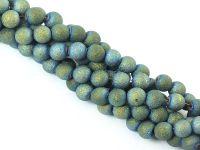 Szklane kulki morska zieleń gwiezdny pył 6 mm - sznur