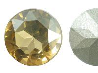 Szklany kamień fasetowany okrągły Golden Shadow F 27mm - 1 sztuka