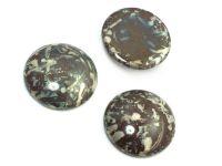 Szklany kaboszon Dark Chocolate - Picasso Silver koło 25mm - 1 sztuka
