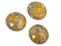 Szklany kaboszon Opaque Yellow - Picasso Silver koło 25mm - 1 sztuka