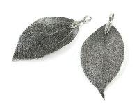 Zawieszka naturalny liść antyczne srebro - 1 sztuka