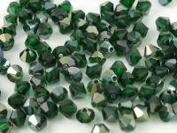 Bicone 4mm Green Emerald Celsian - 100 sztuk