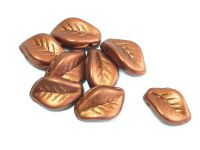 Curved Leaves Matte Metallic Dark Copper 14x9mm - 4 sztuki