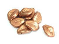 Curved Leaves Matte Metallic Copper 14x9mm - 4 sztuki