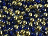 Round Beads Gold 1/2 Coated Dark Sapphire 4 mm - opakowanie