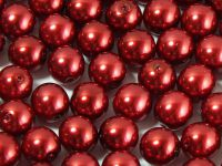 Round Beads Coated Dark Red Pearl 8 mm - 10 sztuk