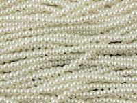 Perełki szklane białe 4 mm - 10 sznurów