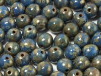 Round Beads Opaque Blue - Picasso Silver 6 mm - 20 sztuk