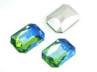 Szklany kamień fasetowany prostokąt 14x10mm Peridot - Blue Mist F - 1 sztuka