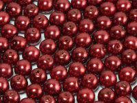 Round Beads Coated Dark Red Pearl 6 mm - 20 sztuk