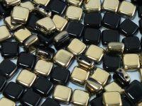 Tile 6mm Gold 1/2 Coated Jet - 20 sztuk