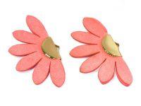 Wachlarzyk różowy zamsz 24x43 mm w złotym okuciu - 1 sztuka