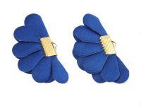 Wachlarzyk niebieski satyna 21x40 mm w złotym okuciu - 1 sztuka